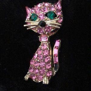 Vintage Rhinestone Cat Pin EUC